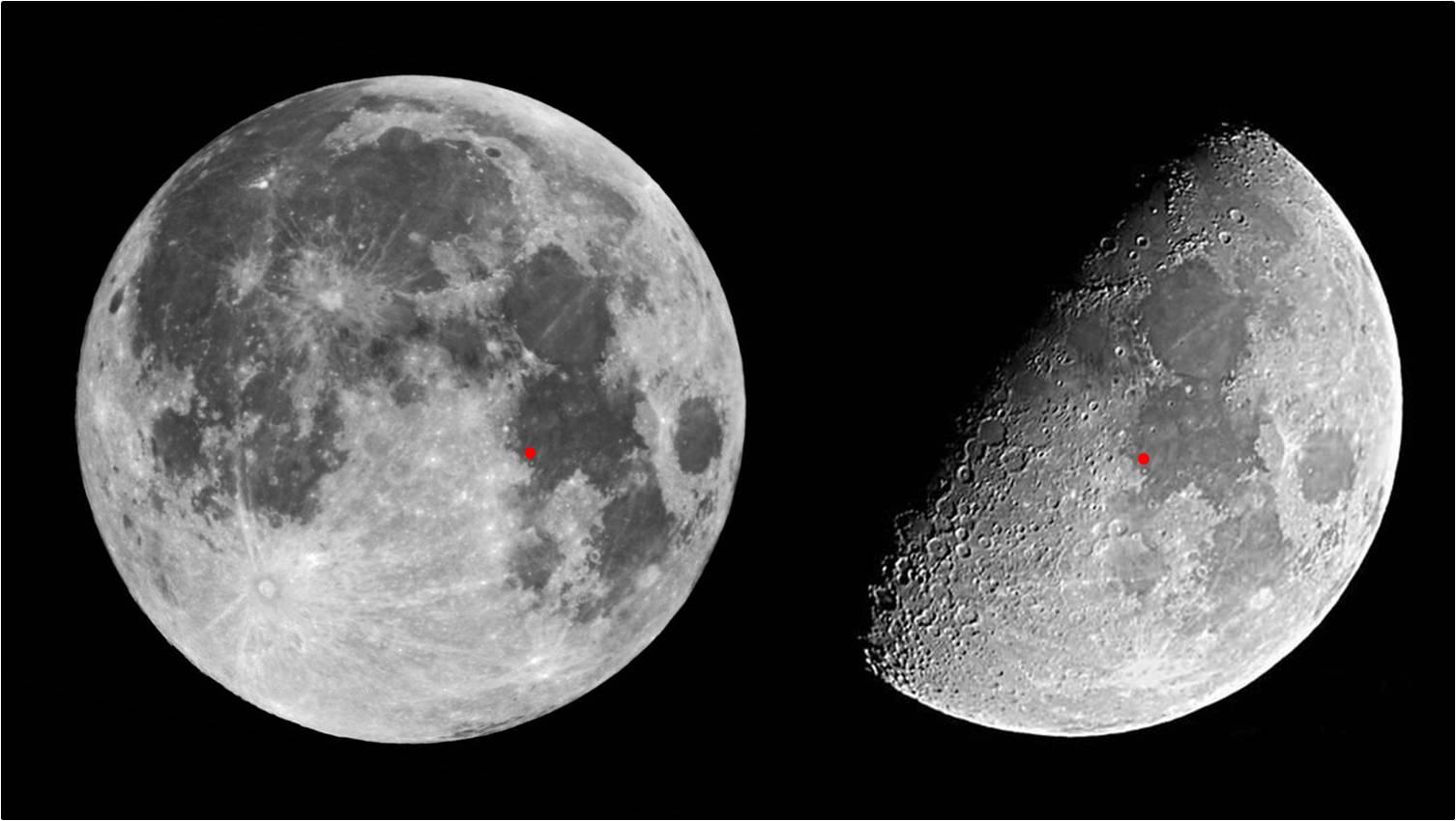 La Luna estaba casi en cuarto creciente cuando el Apollo XI se posó ...